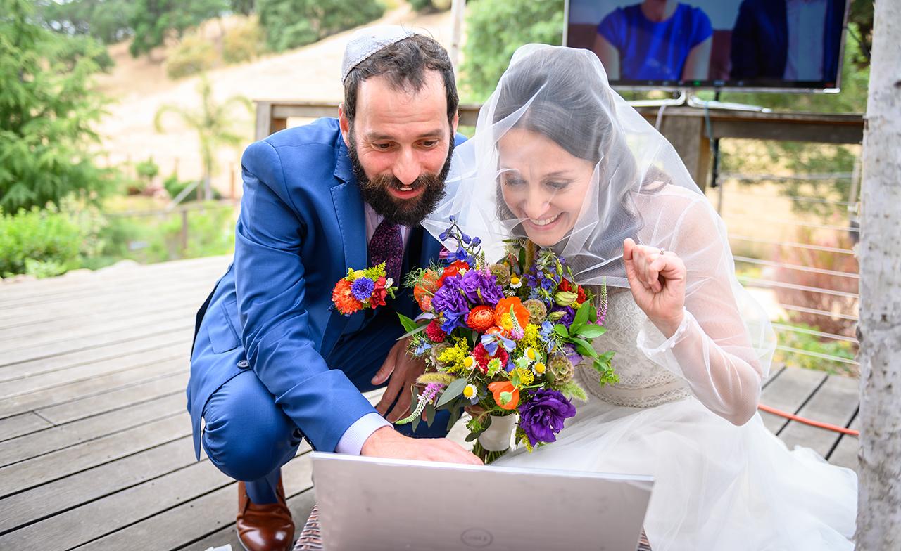 Miriam Nehama Ani and Brandon Waloff at their Zoom wedding, May 31, 2020. (Photo/Éli Zaturanski-Visage Studios)