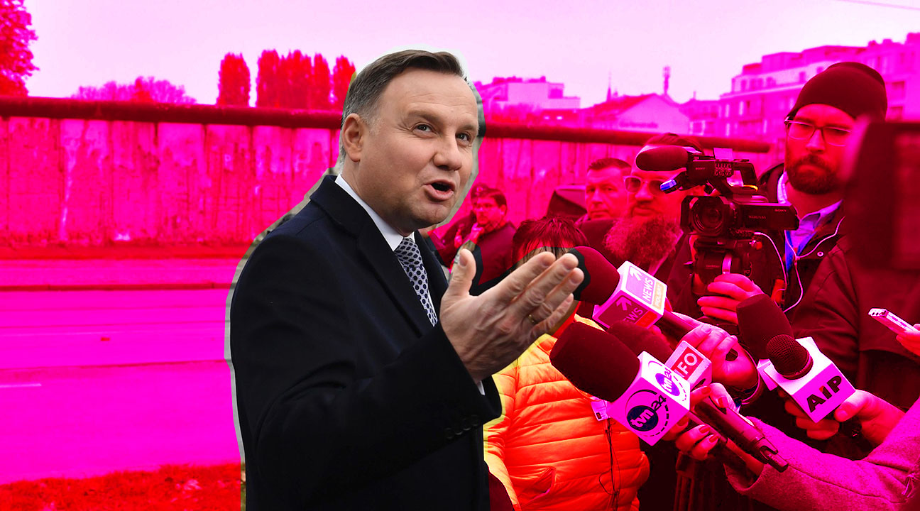 President Andrzej Duda of Poland speaks to the media in front of remains of the Berlin Wall, Nov. 9, 2019. (Photo/JTA-John Macdougall-AFP via Getty Images)