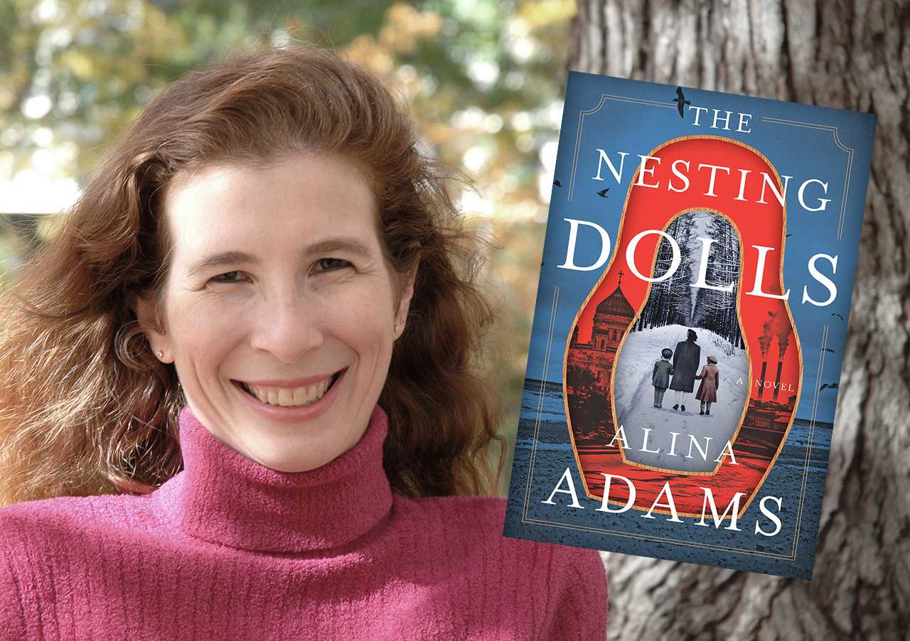 """A headshot of Adams, a smiling white woman, with the cover of her book, """"The Nesting Dolls."""""""