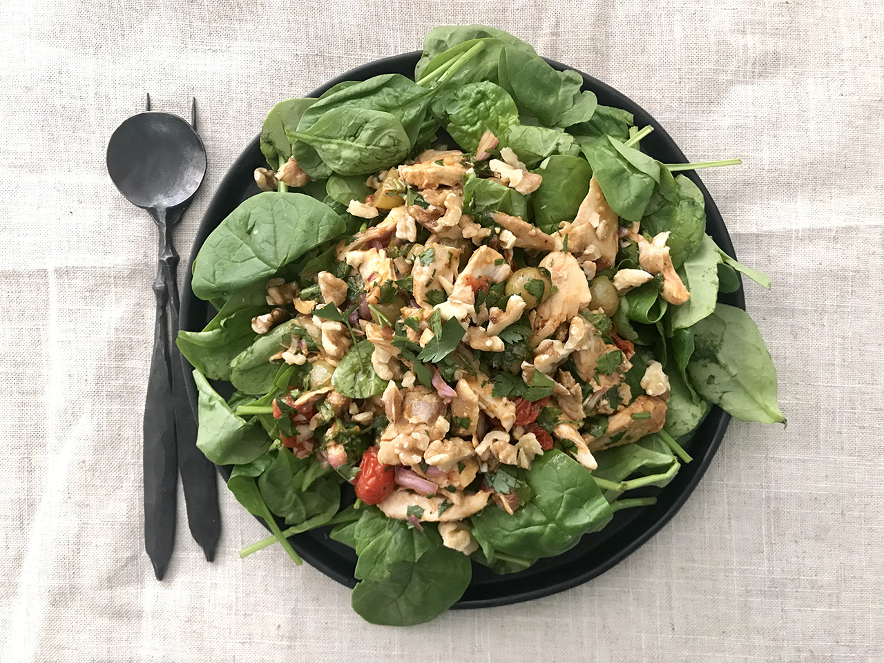 Roasted Grape and Tomato Chicken Salad with Curry Vinaigrette (Photo/Faith Kramer)