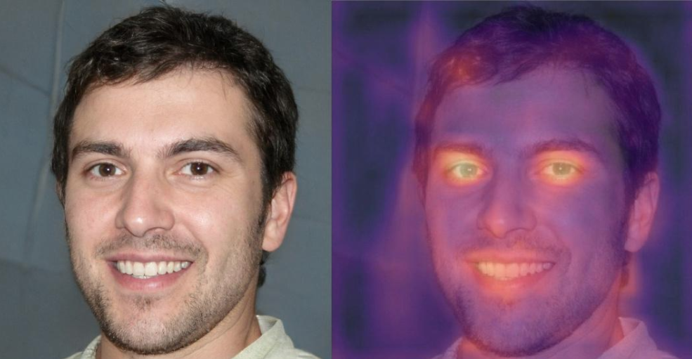 a regular headshot of a white man in his 30s next to a copy of the headshot with distorted colors