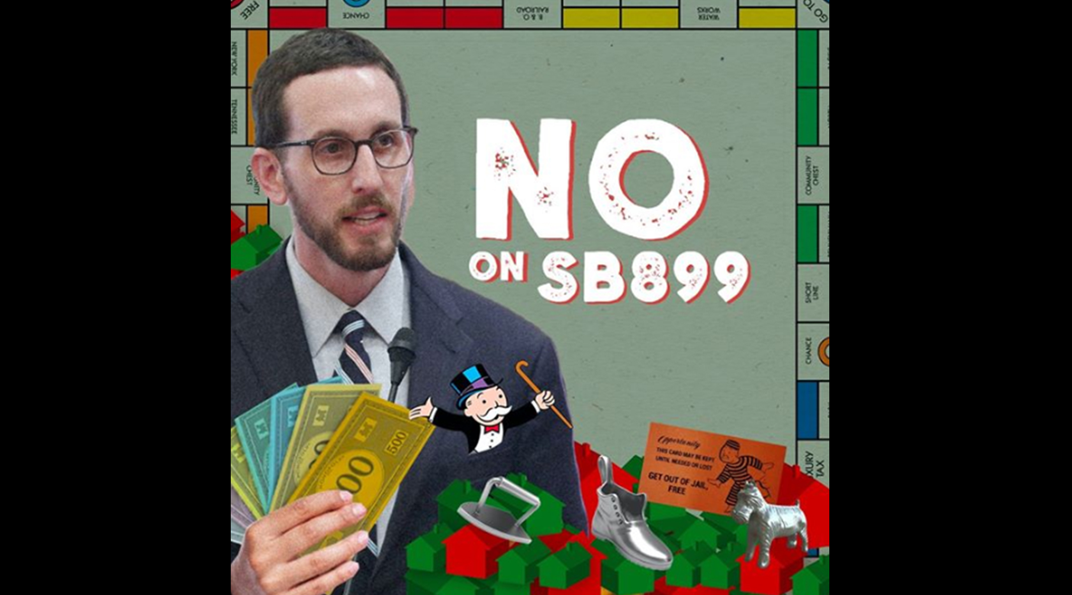 This image of State Sen. Scott Wiener was said to evoke anti-Semitic stereotypes about Jews and money.