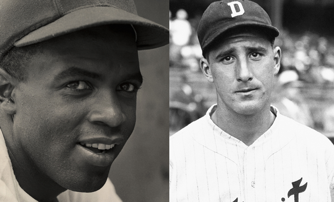 black and white photos of a black man in a baseball cap and a white man in a baseball cap