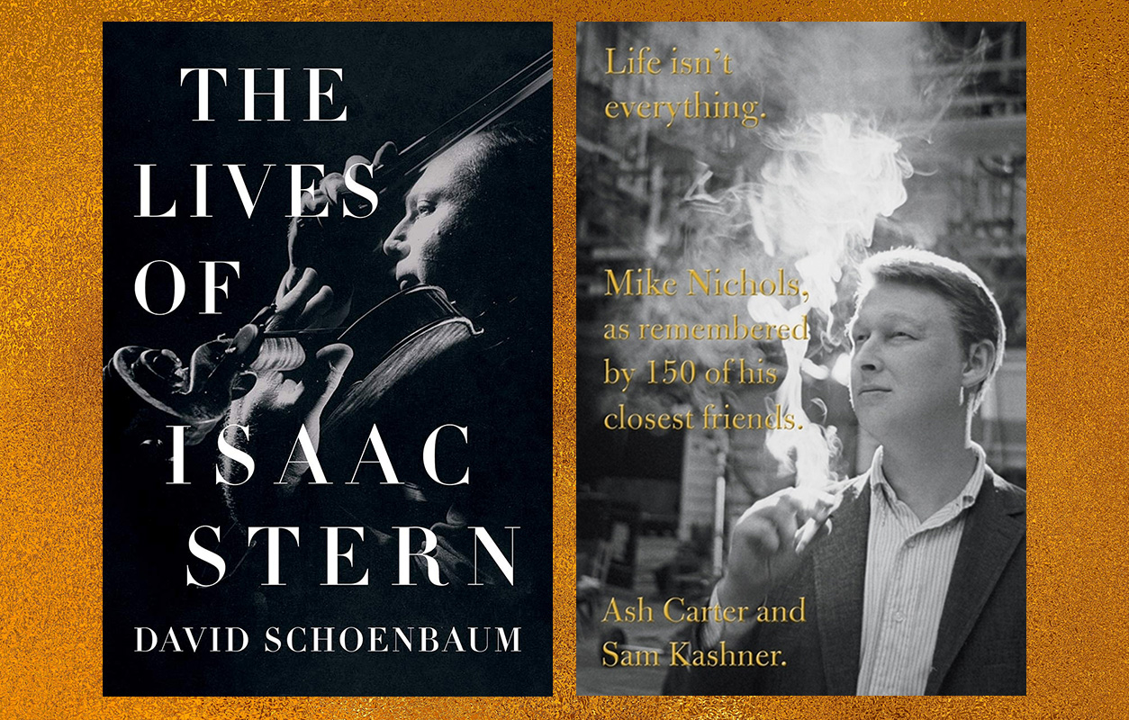 """The covers of """"The Lives of Isaac Stern"""" and """"Life Isn't Everything: Mike Nichols, As Remembered by 150 of His Closest Friends,"""" both of which feature pensive black and white photos of their subjects"""