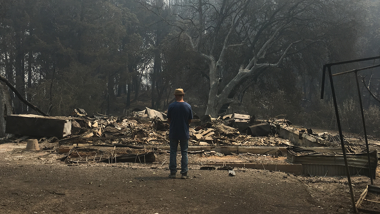 Noor Adabachi surveys the remains of the home he shared with his wife, Debórah Eliezer Adabachi, in the hills west of Healdsburg.
