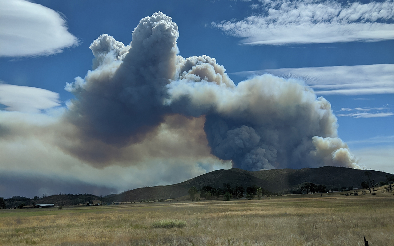 A fire in Napa County as seen from Middletown in Lake County, Aug. 19, 2020. (Photo/Jade May)