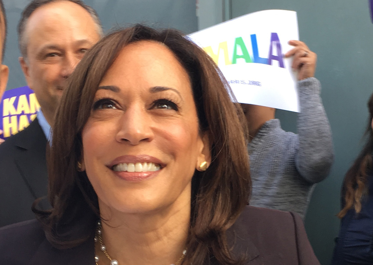 Kamala Harris outside the California Democratic Party convention at the Moscone Center in San Francisco, May 31-June 2, 2019. (Photo/Dan Pine)