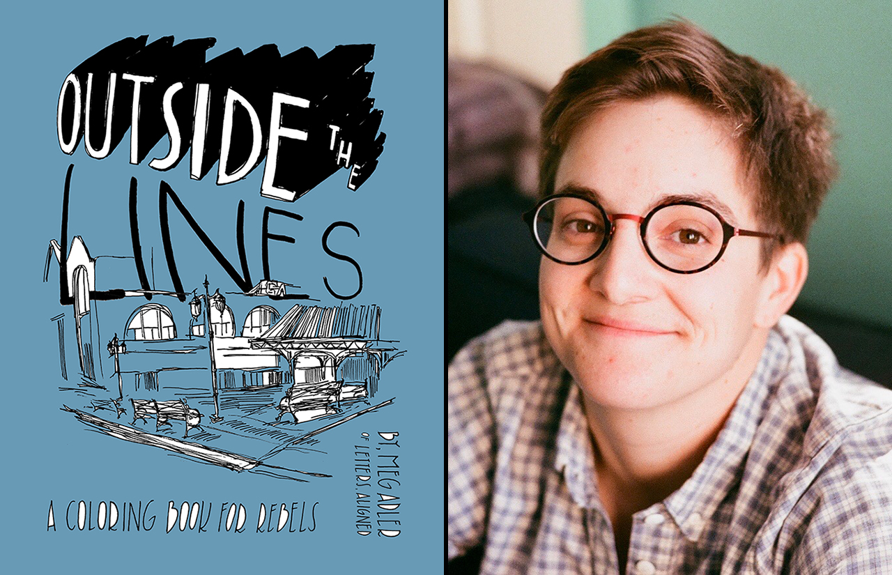 "the cover of ""outside the lines"" (blue with a black and white sketch of a section of the Embarcadero) next to a headshot of Meg Adler, a young woman with short hair and glasses"