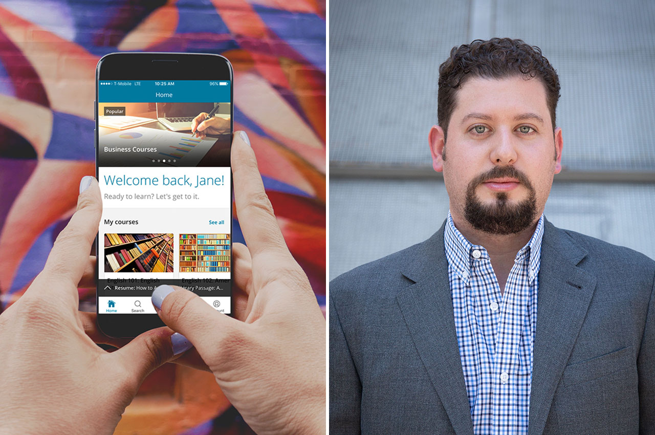 a headshot of a white man with a goatee next to a photo of a woman using Study.com on her phone