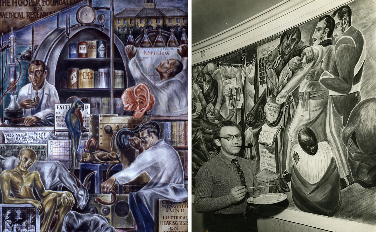A panel from Bernard Zakheim's expansive WPA murals on medical history in UCSF's Toland Hall auditorium; Zakheim working on the mural in 1937. (Photos/UCSF Archives and Special Collections)