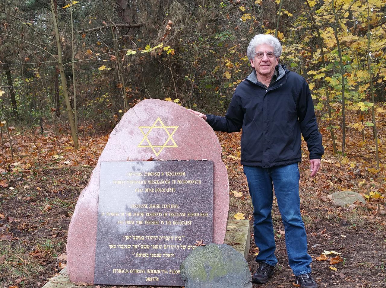 Bill Brostoff at the Jewish cemetery in Trzcianne, Poland.