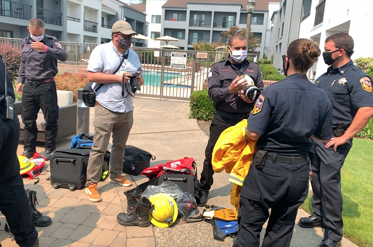 Cal Fire staff and Israeli firefighters meet at a Sacramento hotel to conduct an equipment check before deployment, Aug. 31, 2020. (Photo/Courtesy Shlomi Kofman)
