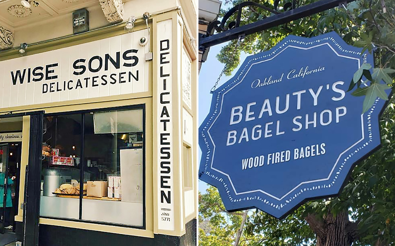 Wise Sons' original location in San Francisco's Mission District (left) and Beauty's Bagel Shop's downtown Oakland location. (Photo/From file)