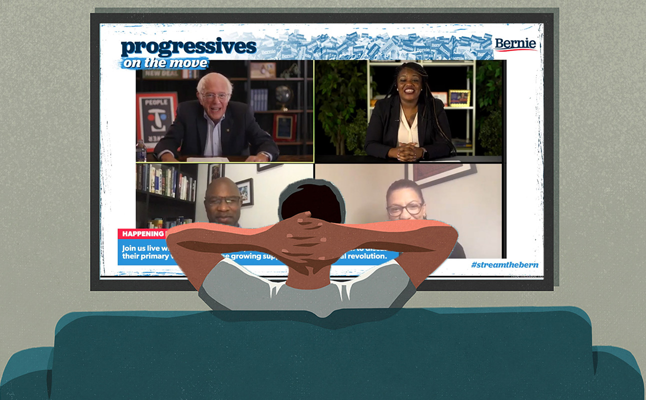 a man watches a livestreamed panel conversation from his couch