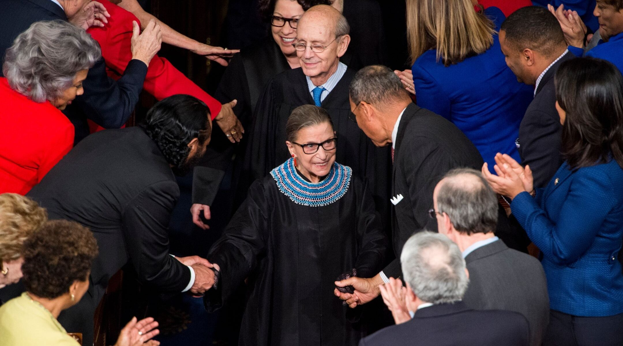 Supreme Court Justice Ruth Bader Ginsburg arrives for President Barack Obama's State of the Union address in the Capitol, Jan. 20, 2015. (Photo/JTA-Bill Clark-CQ Roll Call-Getty Images)