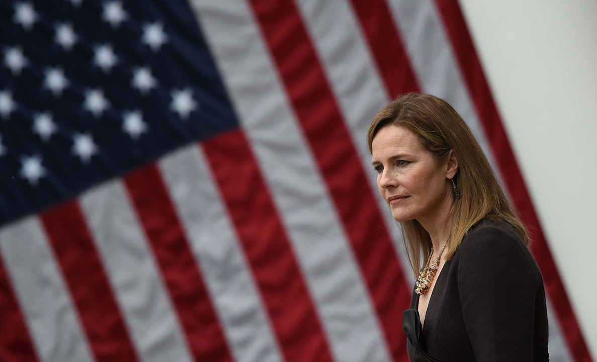 Judge Amy Coney Barrett is nominated to the US Supreme Court by President Donald Trump in the Rose Garden of the White House, Sept. 26, 2020. (Photo/JTA-Olivier Douliery-AFP via Getty Images)