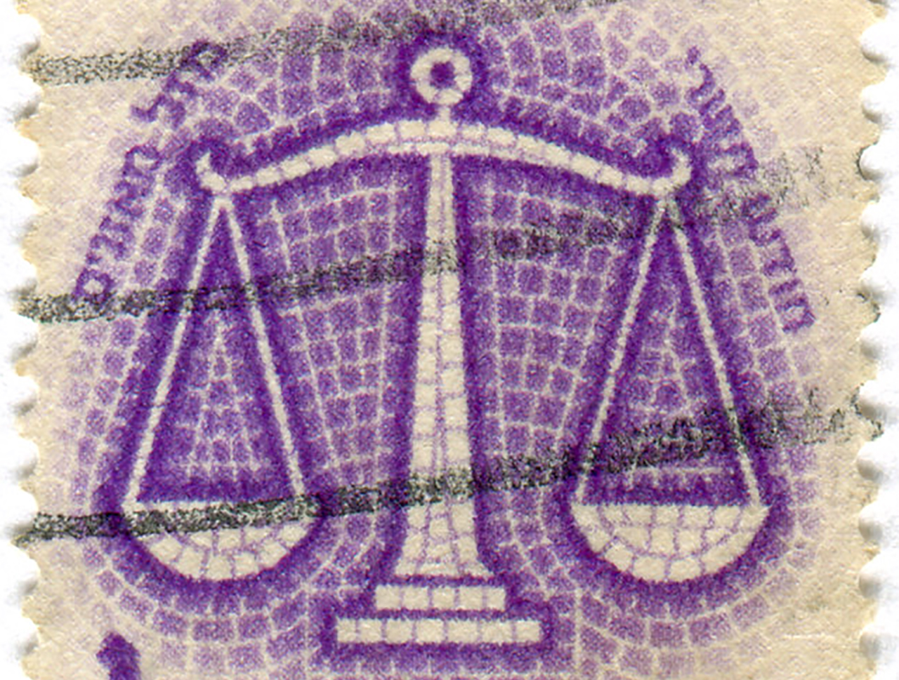A 1961 Israeli postal stamp depicting Libra, the sign of the month of Tishrei. (Photo/Flickr-Karen Horton CC BY-NC 2.0)