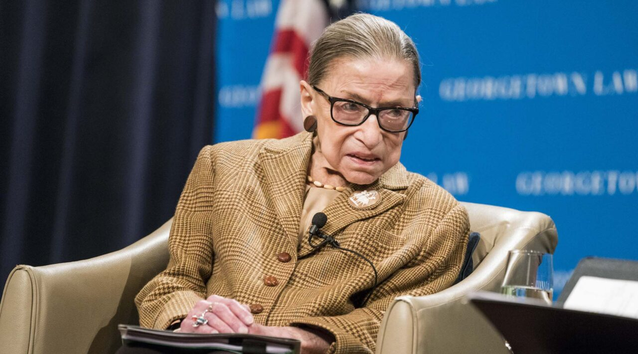 Supreme Court Justice Ruth Bader Ginsburg participates in a discussion at the Georgetown University Law Center in Washington, D.C., Feb. 10, 2020. (Photo/JTA-Sarah Silbiger-Getty Images)