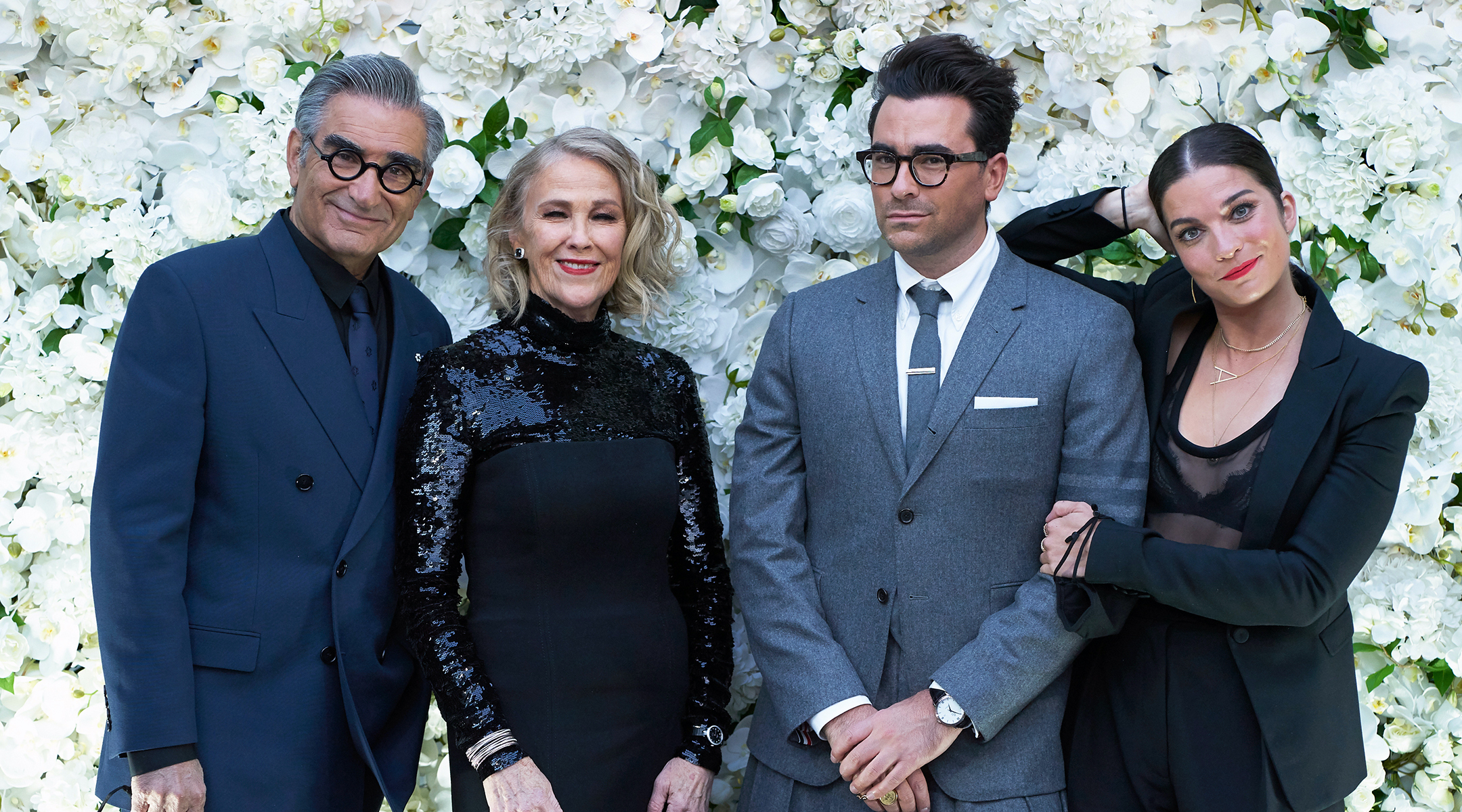 """The """"Schitt's Creek"""" cast at a pre-Emmys party, Sept. 21, 2020: (from left) Eugene Levy, Catherine O'Hara, Dan Levy and Anne Murphy."""