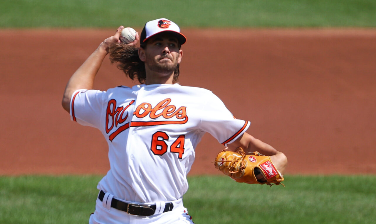 Pitcher for the Baltimore Orioles delivering a pitch