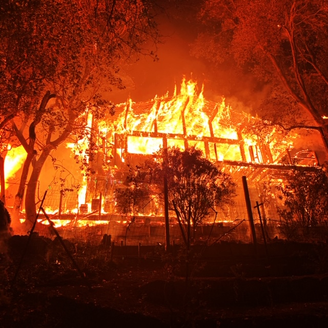 A house just outside St. Helena, Napa County, burns in the Glass Fire, Sept. 29, 2020. (Photo/Napa County Sheriff)