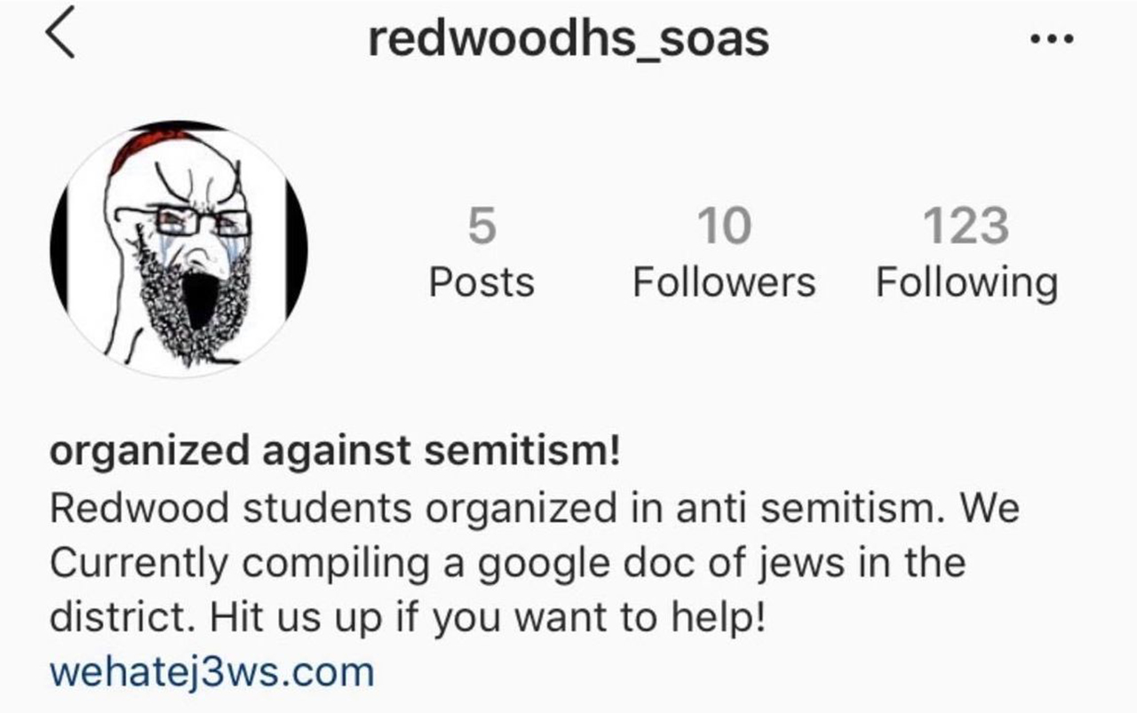 A screenshot of the redwoodhs_soas account, which has since been taken down by Instagram.