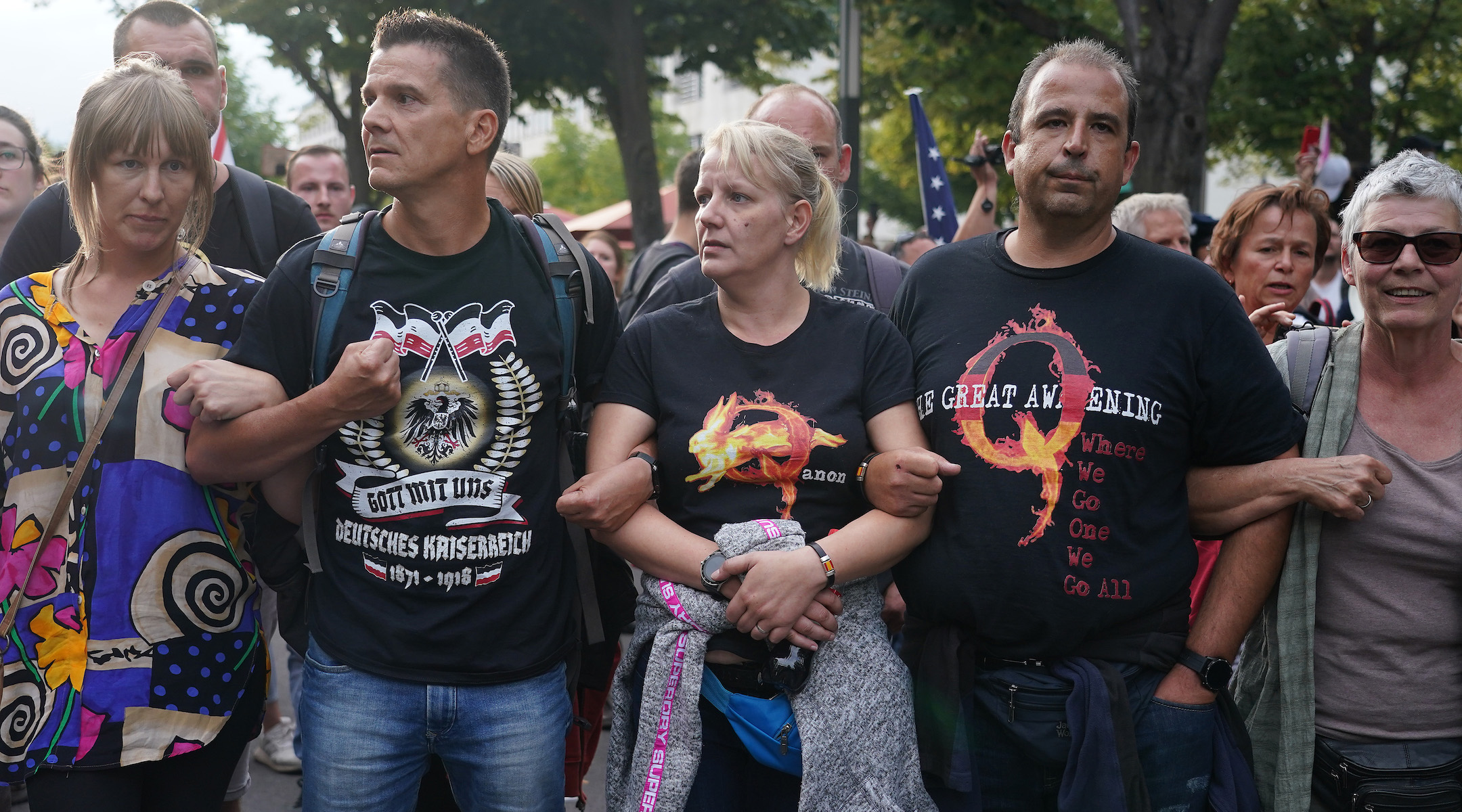 A group of Germans who follow the QAnon conspiracy theory protest in Berlin, Aug. 29, 2020, the same day that a group of German extremists inspired by QAnon stormed the country's parliament. (Photo/JTA-Sean Gallup-Getty Images)