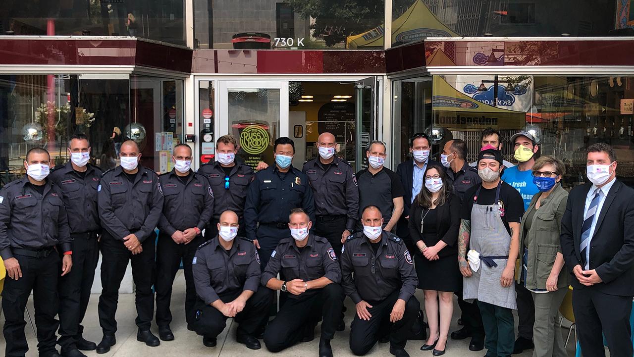 Israeli firefighters visit Solomon's Delicatessen in Sacramento, Aug. 30, 2020. (Photo/Courtesy Jami Goldstene)