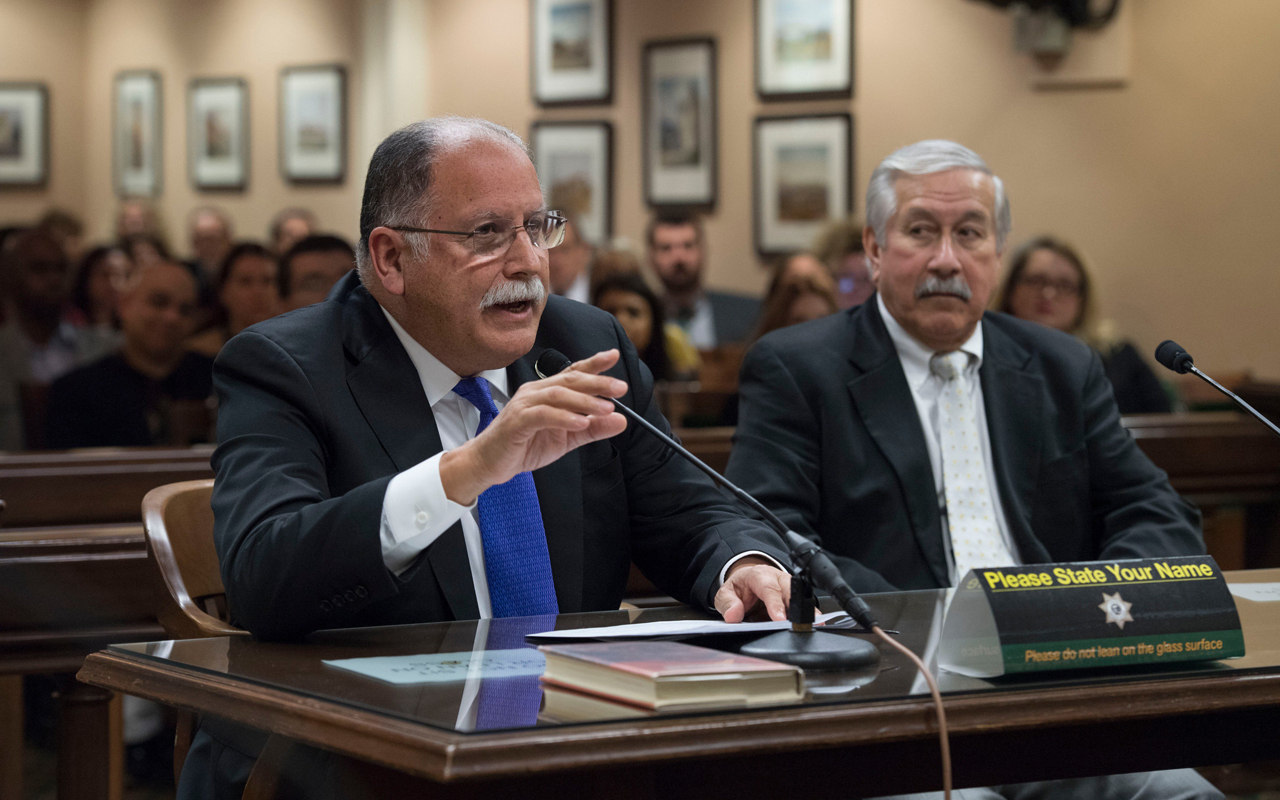 """Jose Medina presenting AB331 to the California Assembly Education Committee in March 2019. Medina is the author of the bill, which would make ethnic studies a high school requirement, and approved the Jewish caucus' """"guardrail"""" additions to the bill. (Photo/Twitter-Jose Medina)"""