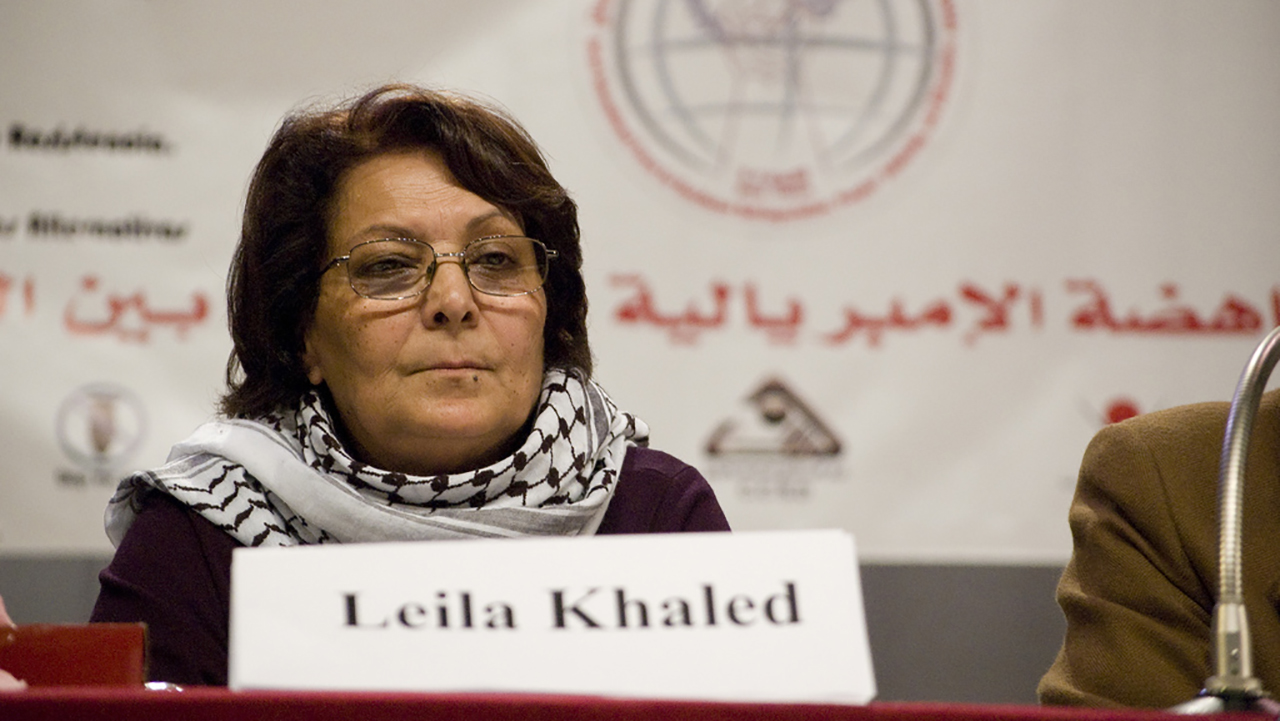 Leila Khaled speaking in Beirut, Lebanon, in 2009. (Photo/Flickr-Sebastian Baryli CC BY 2.0)