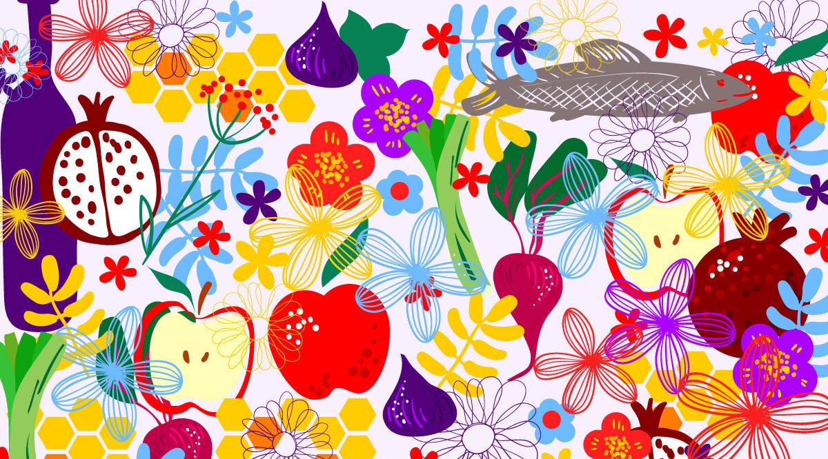 A Persian Rosh Hashanah Seder (Header image design by Grace Yagel; original illustration by art-skvortsova/Getty images)
