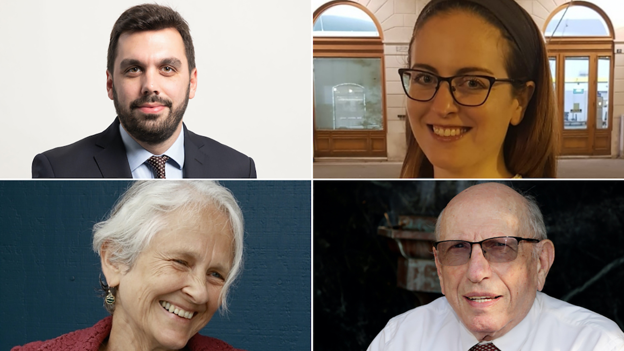 Clockwise, from top left: Daniel Gros, a Jewish attorney in Vienna advising Jews on how to apply for Austrian citizenship; and Elana Dunn-Rennert, Paul Burg and Caroline Wellbery, who are all applying. (JTA/Courtesy Gros, Dunn-Rennert, Burg and Wellbery)