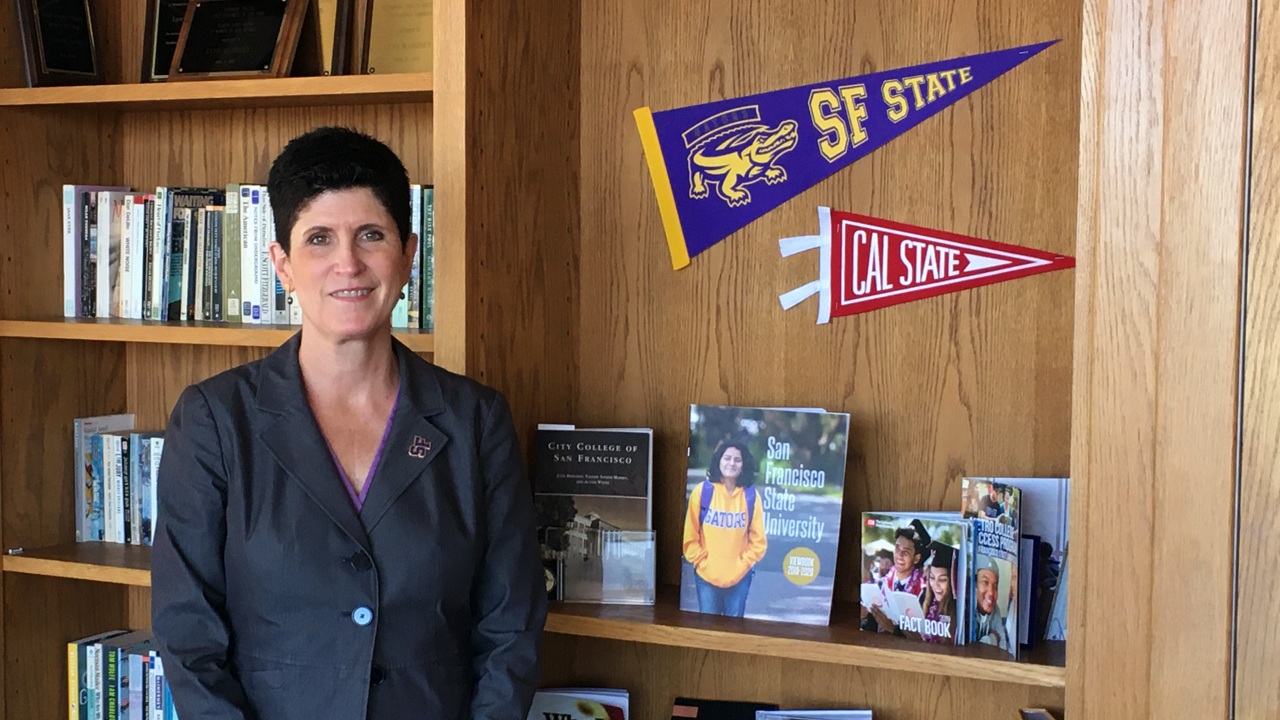 San Francisco State University President Lynn Mahoney in her office. (Photo/Gabe Stutman)
