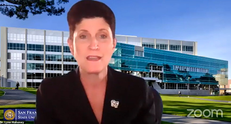 San Francisco State University President Lynn Mahoney speaking during a vigil against terrorism hosted by S.F. Hillel in response to a university event featuring Palestinian hijacker Leila Khaled, Sept. 23, 2020. (Screenshot from Zoom)
