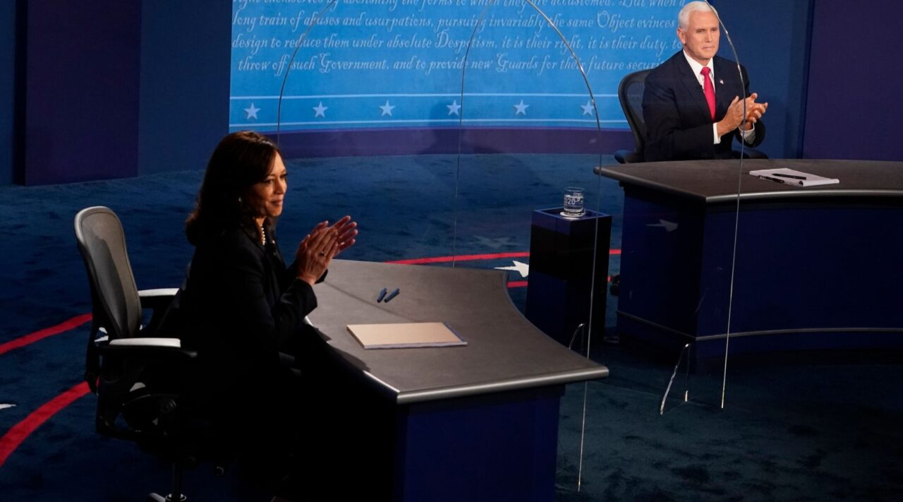 Democratic vice presidential nominee Sen. Kamala Harris (D-CA) and U.S. Vice President Mike Pence applaud after their debate at the University of Utah in Salt Lake City, Utah on October 7, 2020. (Photo/JTA-Morry Gash Pool-Getty Images)