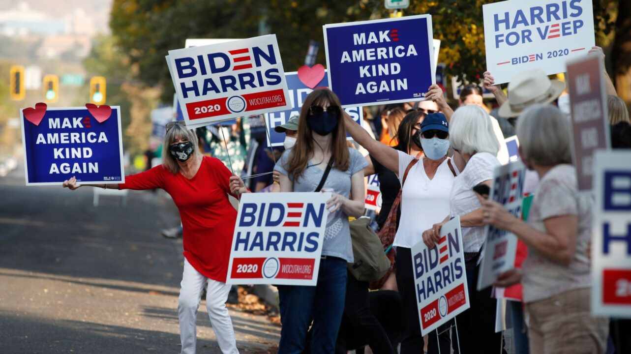 Supporters of Democratic presidential candidate Joe Biden show their support before the vice presidential debate outside Kingsbury Hall at the University of Utah in Salt Lake City, Oct. 7, 2020. (Photo/JTA-George Frey AFP via Getty Images)