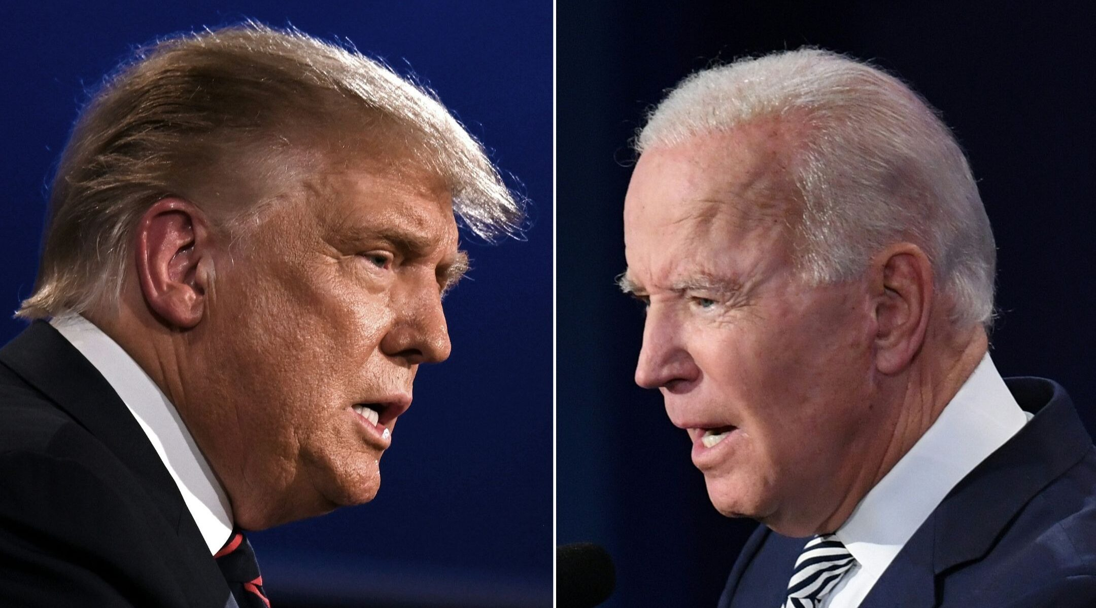 President Donald Trump (left) and former Vice President Joe Biden square off during the first presidential debate, Sept. 29, 2020. (Photos/JTA-Jim Watson-Saul Loeb)