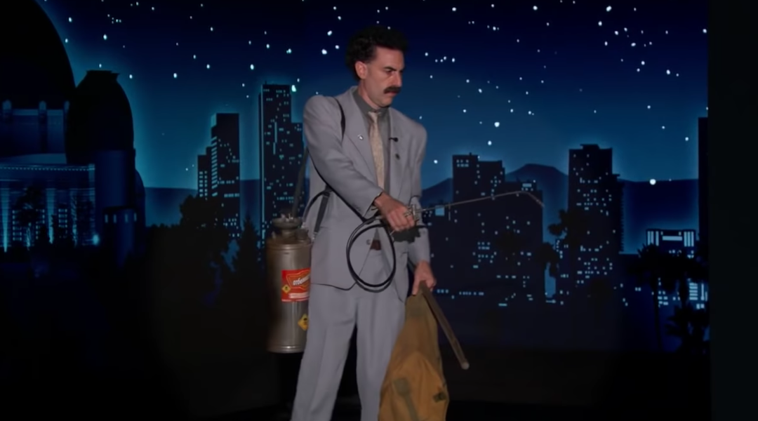 "Sacha Baron Cohen as Borat Sagdiyev on ""Jimmy Kimmel Live,"" Oct. 19, 2020. (Screenshot from YouTube)"