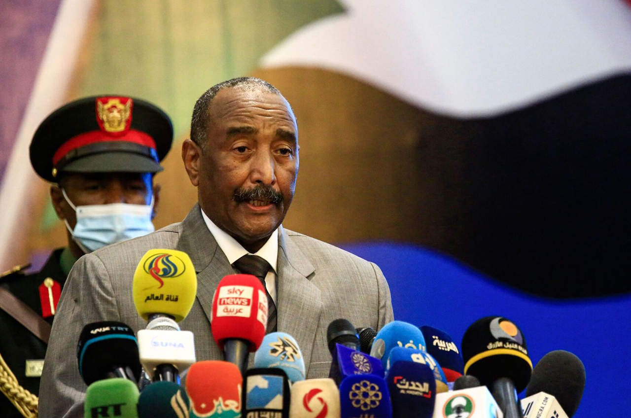 Sudan's Sovereign Council chief General Abdel Fattah al-Burhan speaks in the capital Khartoum, Sept. 26, 2020. (Photo/JTA-Ashraf Shazly-AFP via Getty Images)