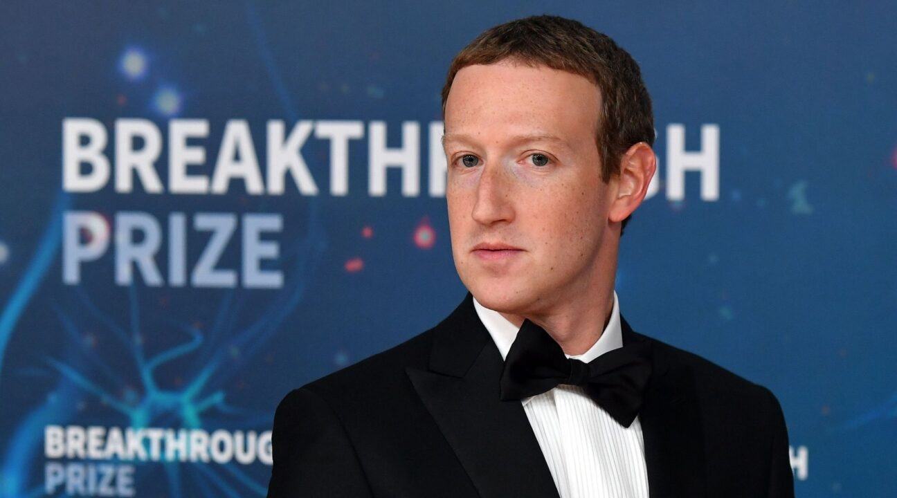 Mark Zuckerberg at the Breakthrough Prize awards ceremony at NASA's Ames Research Center in Mountain View, Nov. 3, 2019. (Photo/JTA-Josh Edelson-AFP via Getty Images)