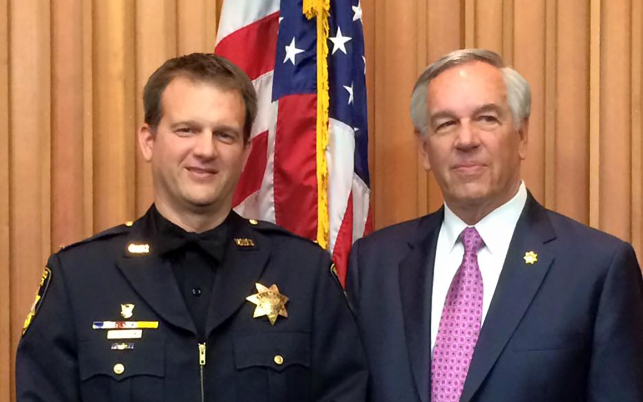 Vallejo Police Lt. Michael Nichelini with his father, former Police Chief Robert Nichelini. (Photo/Facebook)