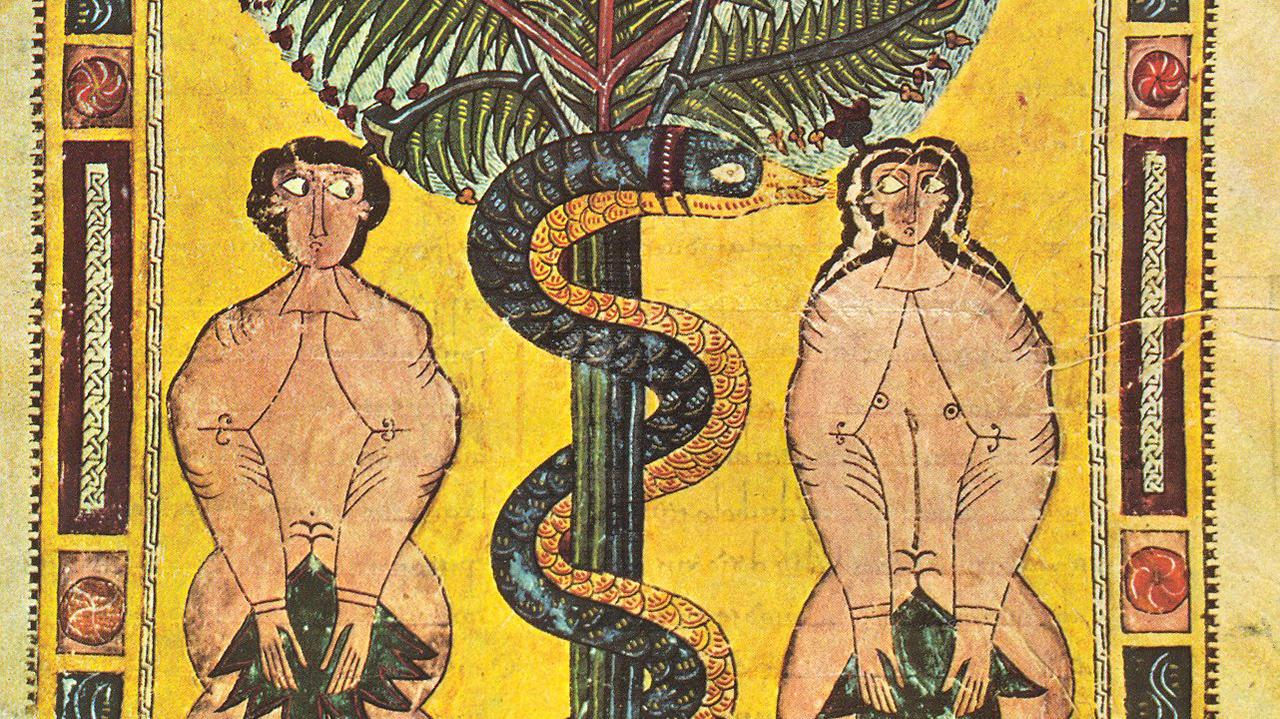 Adam and Eve as depicted in the Escorial Beatus, a 10th-century illuminated manuscript.