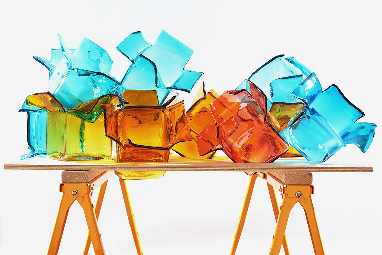 """Fragile,"" blown and sandblasted glass, by Carol Roseman."