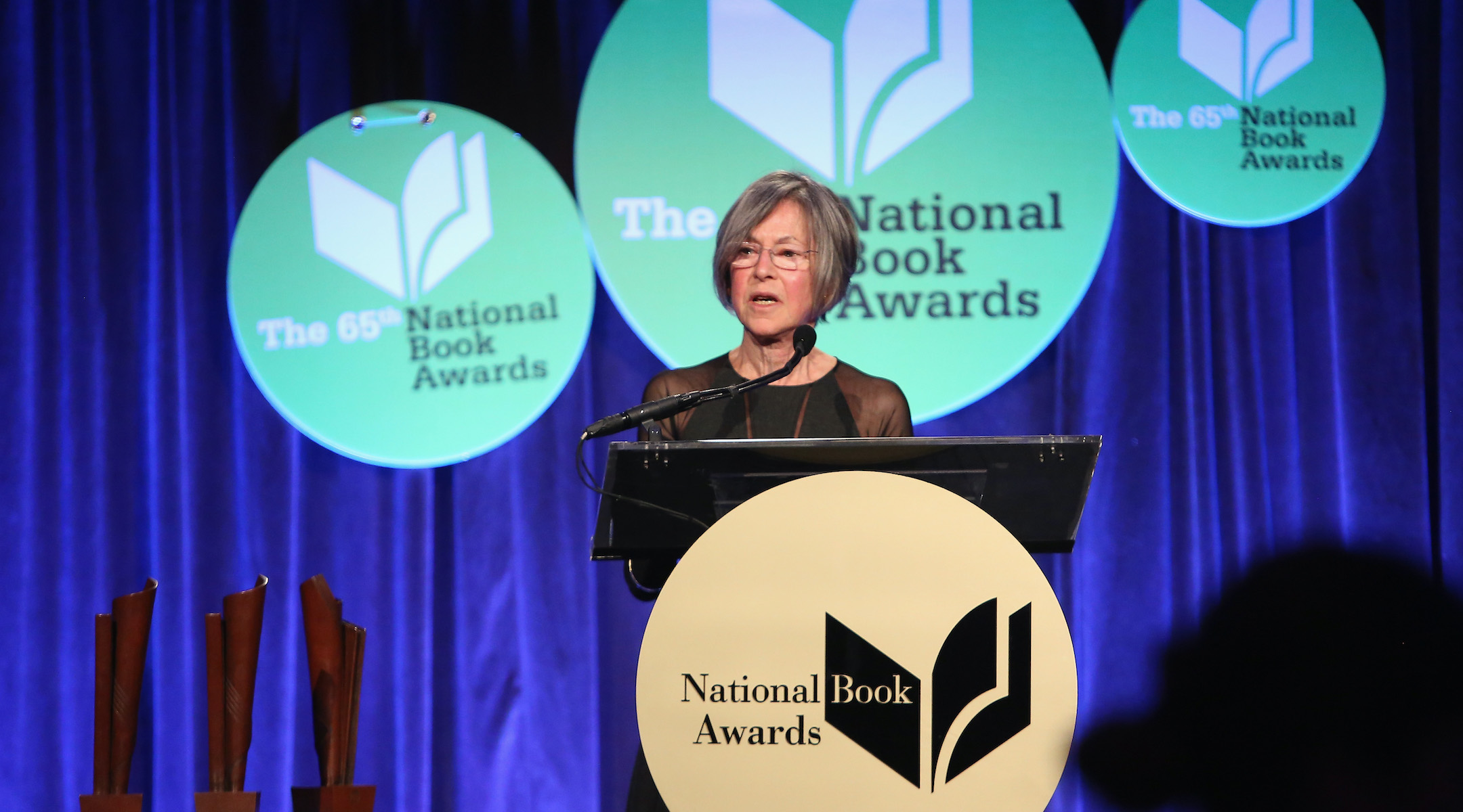 Poet Louise Glück, seen here at the National Book Awards in New York City in 2014, is the winner of the 2020 Nobel Prize for Literature. (Photo/JTA-Robin Marchant-Getty Images)