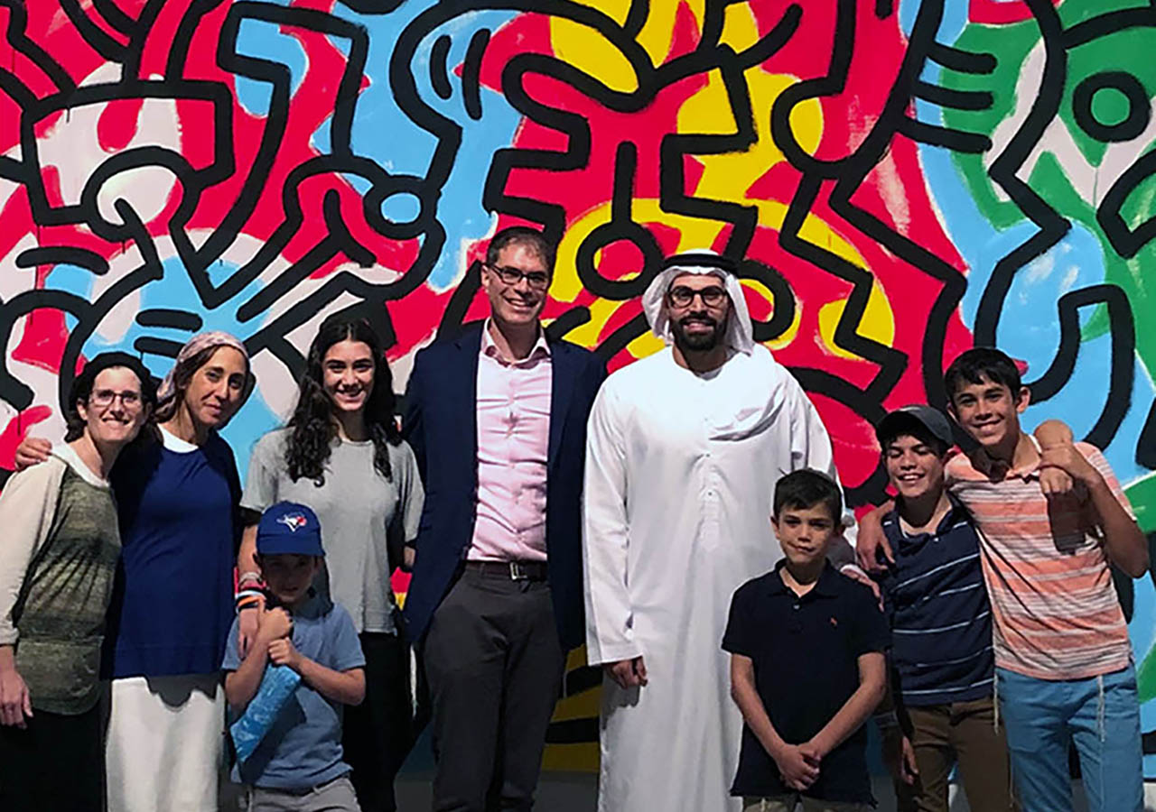 The Sarna family in the United Arab Emirates with Mohamed al Mubarak, chair of the Abu Dhabi department of culture and tourism. (Photo/Courtesy Michelle Waldman Sarna)