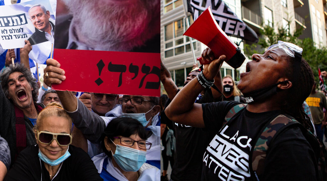 Left: Israelis protest in support of Israeli Prime Minister Benjamin Netanyahu in Jerusalem, May 24, 2020 (Photo/JTA-Amir Levy-Getty Images). Right: A woman protesting the killing of Breonna Taylor in Louisville, Kentucky. (Photo/JTA-Jason Armond-Los Angeles Times via Getty Images)