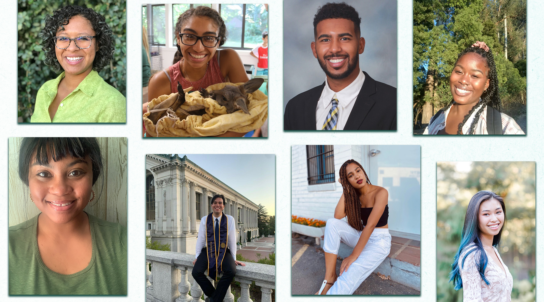The first cohort of the Jews of Color Career Development Program (clockwise from top left): Tiziana Friedman, Sumner Lewis, Aaron Carpenter, Kayla Fleming, Anabelle Kaimach, Sharona Shnayder, Daniel Hershfield and Liyah Foye. (Photos/Courtesy of Jews of Color Initiative)