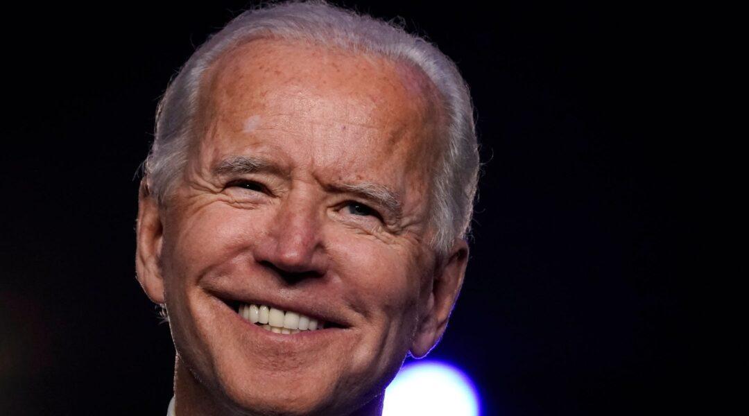 Close up image of Biden smiling