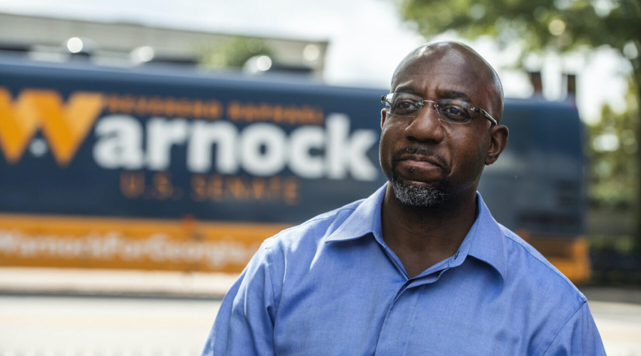 Rev. Raphael Warnock seen after a campaign rally in LaGrange, Gaeorgia, Oct. 29, 2020. (Photo/JTA-Tom Williams-CQ Roll Call, Inc via Getty Images)