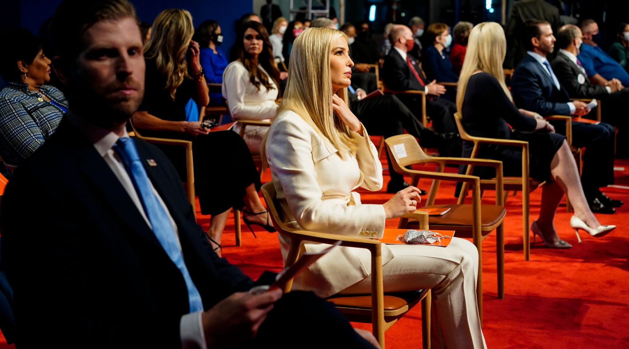 Four children of President Donald Trump — from left, Eric, Ivanka, Tiffany and Donald Jr. — sit in the audience at the first debate between the incumbent and former Vice President Joe Biden in Cleveland, Sept. 29, 2020. (Photo/JTA-Melina Mara-The Washington Post via Getty Images)